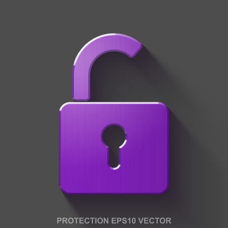 Flat metallic safety 3D icon. Purple Glossy Metal Opened Padlock icon with transparent shadow on Gray background. EPS 10, vector illustration.