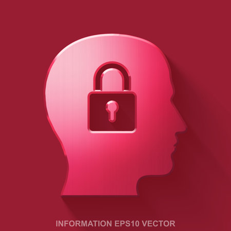 Flat metallic Data 3D icon. Red Glossy Metal Head With Padlock icon with transparent shadow on Red background. EPS 10, vector illustration.