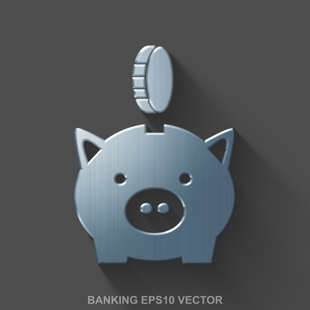 silver coins: Flat metallic banking 3D icon. Polished Steel Money Box With Coin icon with transparent shadow on Gray background. EPS 10, vector illustration.