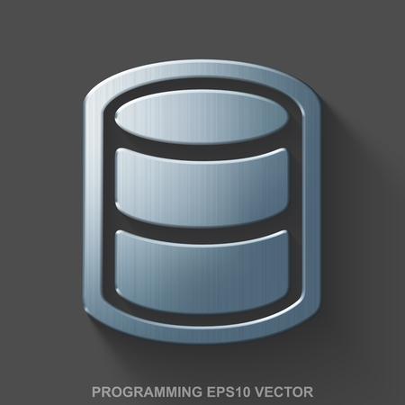 polished: Flat metallic Database 3D icon. Polished Steel Database icon with transparent shadow on Gray background. EPS 10, vector illustration. Illustration