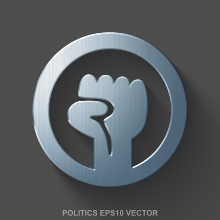 eps vector icon: Flat metallic political 3D icon. Polished Steel Uprising icon with transparent shadow on Gray background. EPS 10, vector illustration. Illustration