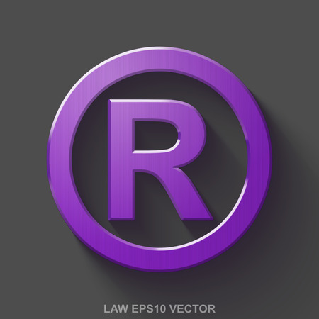 r regulation: Flat metallic law 3D icon. Purple Glossy Metal Registered icon with transparent shadow on Gray background. EPS 10, vector illustration. Illustration