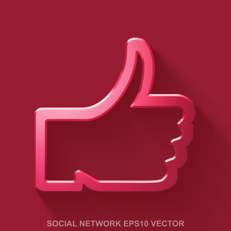 10 fingers: Flat metallic social network 3D icon. Red Glossy Metal Thumb Up icon with transparent shadow on Red background. EPS 10, vector illustration.