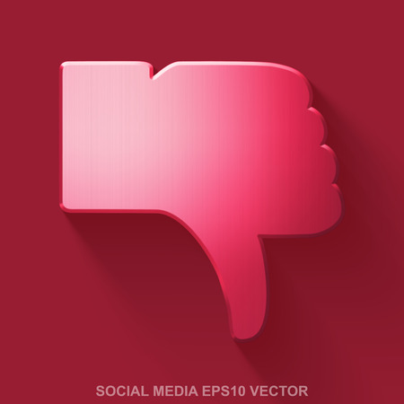 Flat metallic social network 3D icon. Red Glossy Metal Thumb Down icon with transparent shadow on Red background. EPS 10, vector illustration.