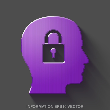 Flat metallic Data 3D icon. Purple Glossy Metal Head With Padlock icon with transparent shadow on Gray background. EPS 10, vector illustration.