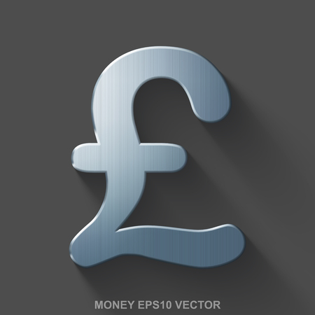 Flat metallic currency 3D icon. Polished Steel Pound icon with transparent shadow on Gray background. EPS 10, vector illustration. Çizim
