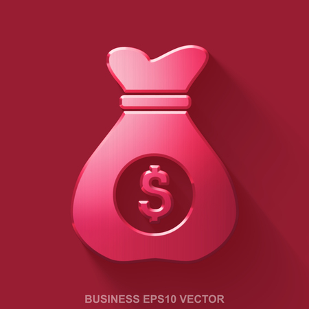 malla metalica: Flat metallic finance 3D icon. Red Glossy Metal Money Bag icon with transparent shadow on Red background. EPS 10, vector illustration. Vectores