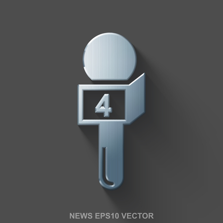 good news: Flat metallic news 3D icon. Polished Steel Microphone icon with transparent shadow on Gray background. EPS 10, vector illustration.