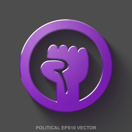uprising: Flat metallic politics 3D icon. Purple Glossy Metal Uprising icon with transparent shadow on Gray background. EPS 10, vector illustration. Illustration