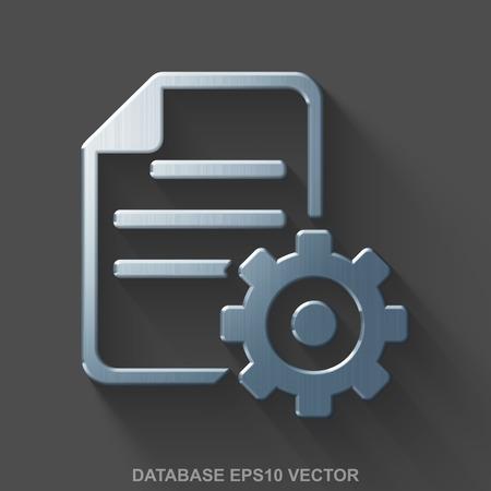 Flat metallic Database 3D icon. Polished Steel Gear icon with transparent shadow on Gray background. EPS 10, vector illustration. Illusztráció