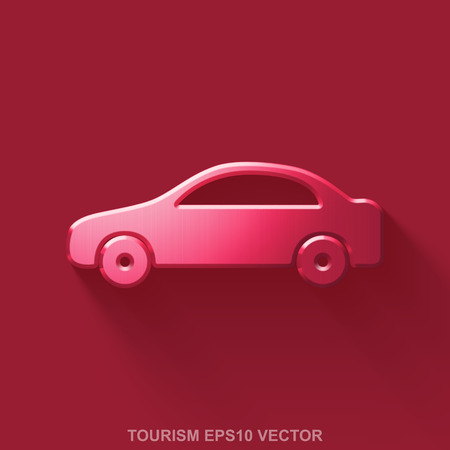 malla metalica: Flat metallic tourism 3D icon. Red Glossy Metal Car icon with transparent shadow on Red background. EPS 10, vector illustration. Vectores