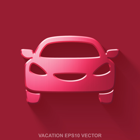 Flat metallic tourism 3D icon. Red Glossy Metal Car icon with transparent shadow on Red background. EPS 10, vector illustration. Illustration