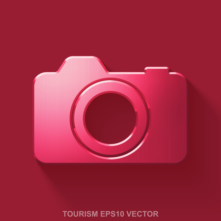 eps vector icon: Flat metallic travel 3D icon. Red Glossy Metal Photo Camera icon with transparent shadow on Red background. EPS 10, vector illustration.