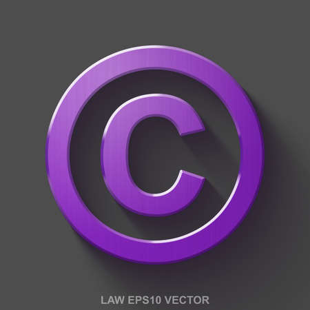 Flat metallic law 3D icon. Purple Glossy Metal Copyright icon with transparent shadow on Gray background. EPS 10, vector illustration.