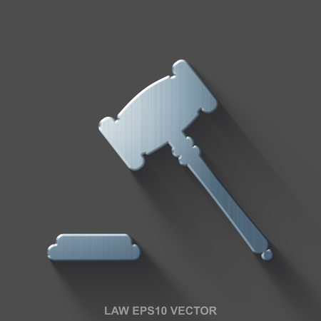 polished: Flat metallic law 3D icon. Polished Steel Gavel icon with transparent shadow on Gray background. EPS 10, vector illustration.