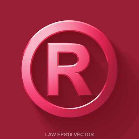 r regulation: Flat metallic law 3D icon. Red Glossy Metal Registered icon with transparent shadow on Red background. EPS 10, vector illustration. Illustration