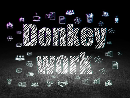 dirty room: Business concept: Glowing text Donkey Work,  Hand Drawn Business Icons in grunge dark room with Dirty Floor, black background