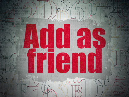 add as friend: Social network concept: Painted red text Add as Friend on Digital Data Paper background with   Hexadecimal Code Stock Photo