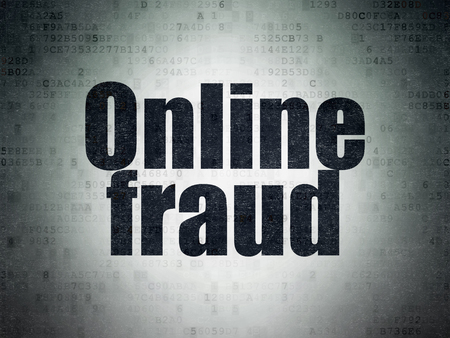 privat: Protection concept: Painted black word Online Fraud on Digital Data Paper background Stock Photo