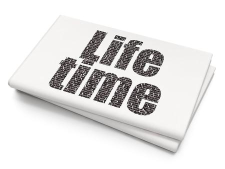 cronologia: Concepto de tiempo: tiempo de vida de texto negro pixelado en el fondo de periódico en blanco, representación 3D