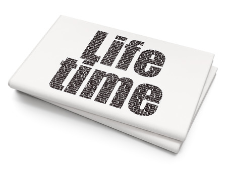 Time concept: Pixelated black text Life Time on Blank Newspaper background, 3D rendering