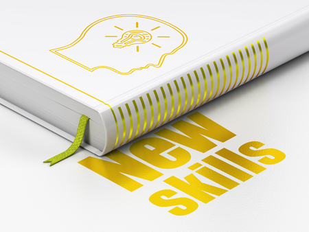 learning new skills: Studying concept: closed book with Gold Head With Lightbulb icon and text New Skills on floor, white background, 3D rendering Stock Photo