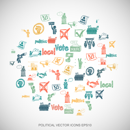Multicolor doodles flat Hand Drawn Politics Icons set In A Circle on White background. EPS10 vector illustration. Illustration