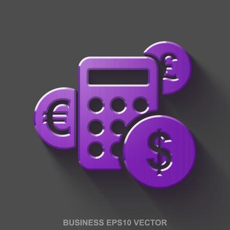 평면 금속 금융 3D 아이콘입니다. 회색 배경에 투명 그림자와 보라색 광택 금속 계산기 아이콘.