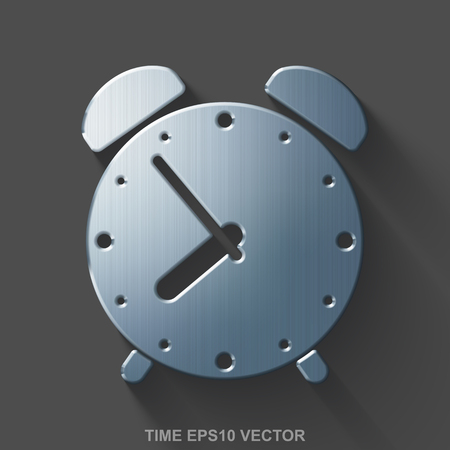 polished: Flat metallic time 3D icon. Polished Steel Alarm Clock icon with transparent shadow on Gray background. Illustration
