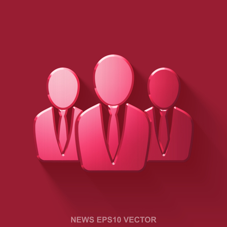 Flat metallic news 3D icon. Red Glossy Metal Business People icon with transparent shadow on Red background.