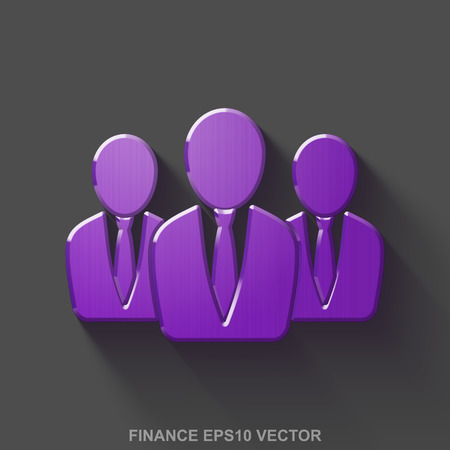Flat metallic business 3D icon. Purple Glossy Metal Business People icon with transparent shadow on Gray background. Illustration