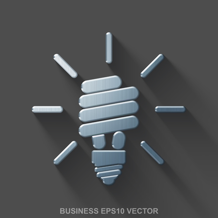 Flat metallic business 3D icon. Polished Steel Energy Saving Lamp icon with transparent shadow on Gray background.