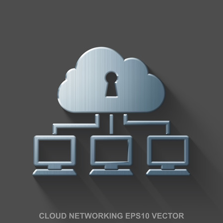 security monitor: Flat metallic cloud networking 3D icon. Polished Steel Cloud Network icon with transparent shadow on Gray background. Illustration