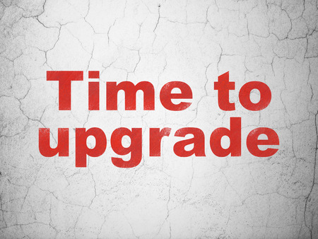 Timeline concept: Red Time To Upgrade on textured concrete wall background