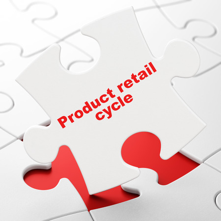 Marketing concept: Product retail Cycle on White puzzle pieces background, 3D rendering