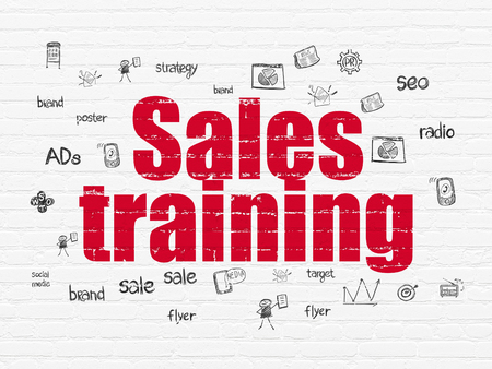 Marketing concept: Painted red text Sales Training on White Brick wall background with  Hand Drawn Marketing Icons