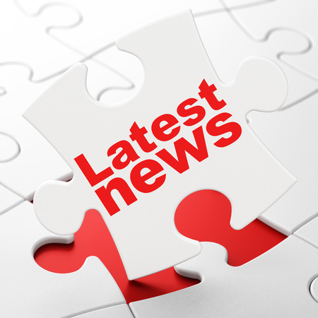 News concept: Latest News on White puzzle pieces background, 3D rendering Stock Photo