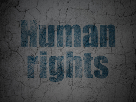 Political concept: Blue Human Rights on grunge textured concrete wall background Stock Photo