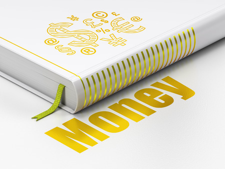 Finance concept: closed book with Gold Finance Symbol icon and text Money on floor, white background, 3D rendering