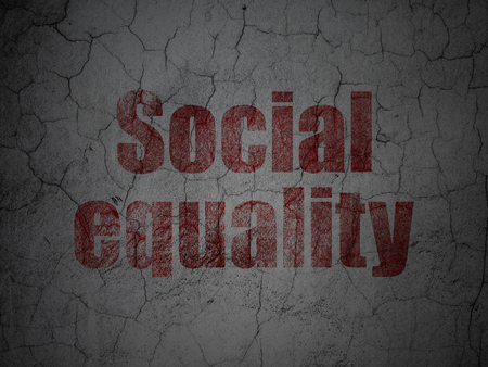 Political concept: Red Social Equality on grunge textured concrete wall background Stock Photo