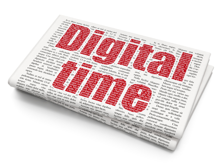 Time concept: Pixelated red text Digital Time on Newspaper background, 3D rendering Stock Photo - 83952377