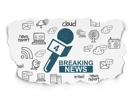 breaking: News concept: Painted blue Breaking News And Microphone icon on Torn Paper background with  Hand Drawn News Icons