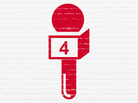 breaking: News concept: Painted red Microphone icon on White Brick wall background