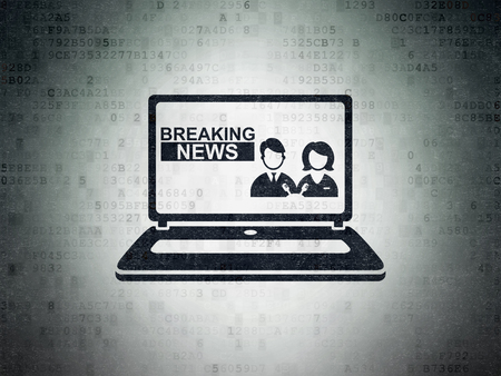 breaking: News concept: Painted black Breaking News On Laptop icon on Digital Data Paper background