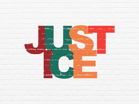 Law concept: Painted multicolor text Justice on White Brick wall background