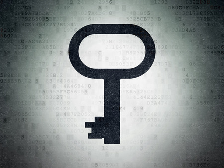 drawing pin: Security concept: Painted black Key icon on Digital Data Paper background Stock Photo