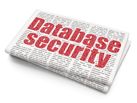 articles: Security concept: Pixelated red text Database Security on Newspaper background, 3D rendering Stock Photo