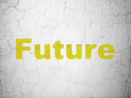 Time concept: Yellow Future on textured concrete wall background Stock Photo