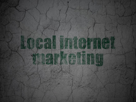 Marketing concept: Green Local Internet Marketing on grunge textured concrete wall background
