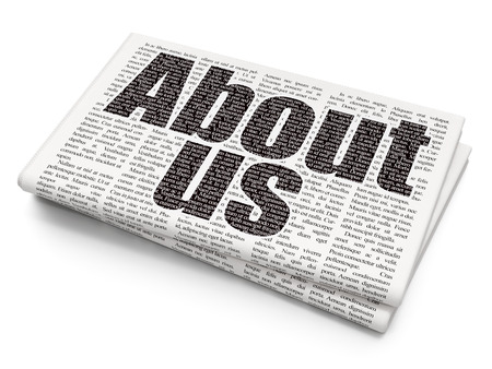 articles: Marketing concept: Pixelated black text About Us on Newspaper background, 3D rendering